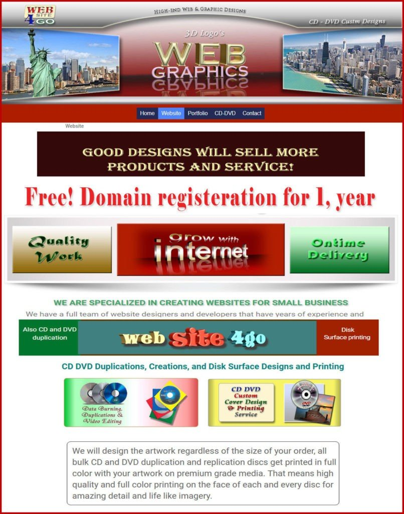Websites & Graphic Design.ONE YEAR FREE DOMAIN REGISTRATION with Web site Design