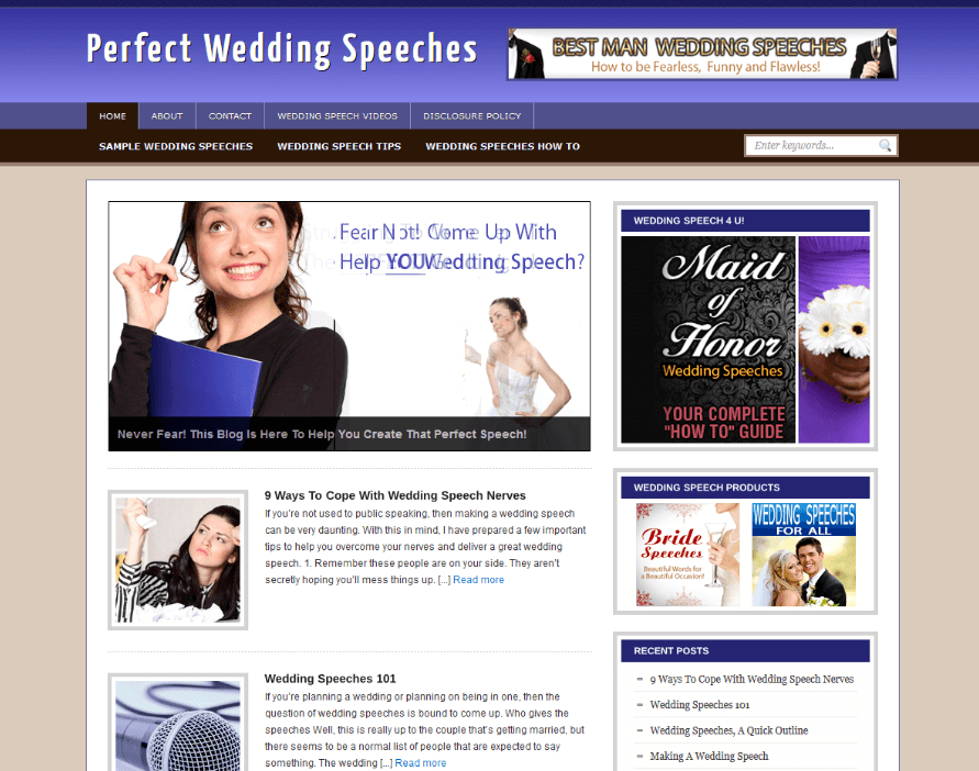 Wedding Speeches Website Business  Clickbank Adsense 2 Months Free Hosting