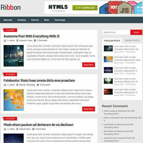 WordPress 'RIBBON' Website News / Magazine Theme Business (FREE HOSTING)