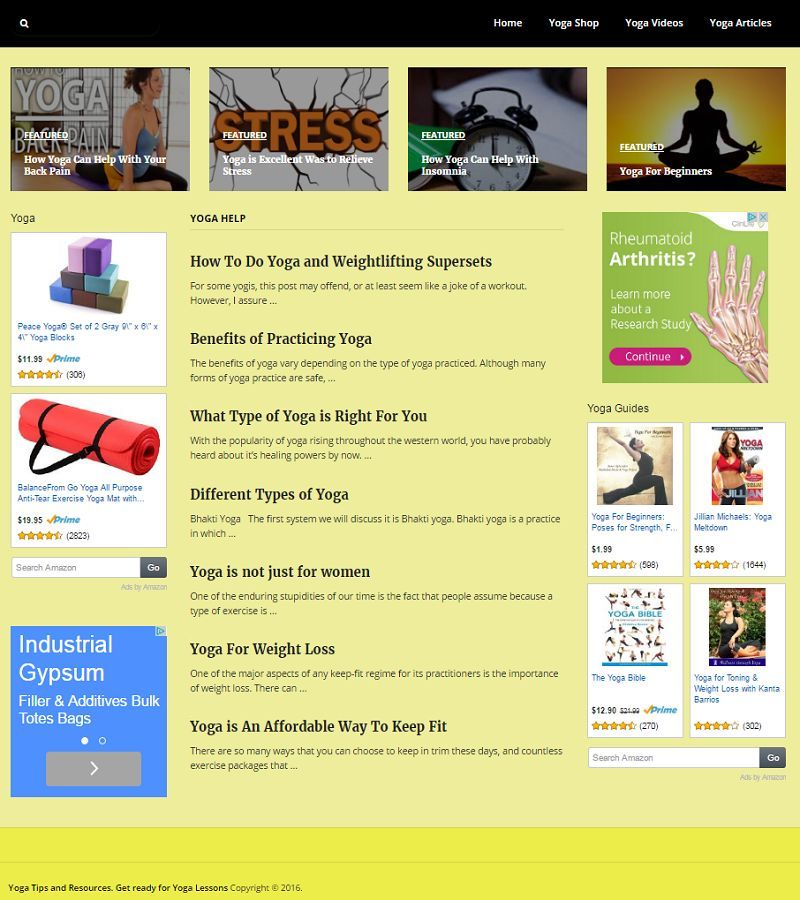 YOGA BLOG WORKOUT WEBSITE BUSINESS and DOMAIN FOR SALE! MOBILE RESPONSIVE