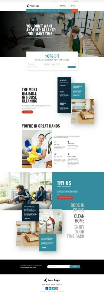 cleaning Services and maid Business WEBSITE with tools to generate leads today
