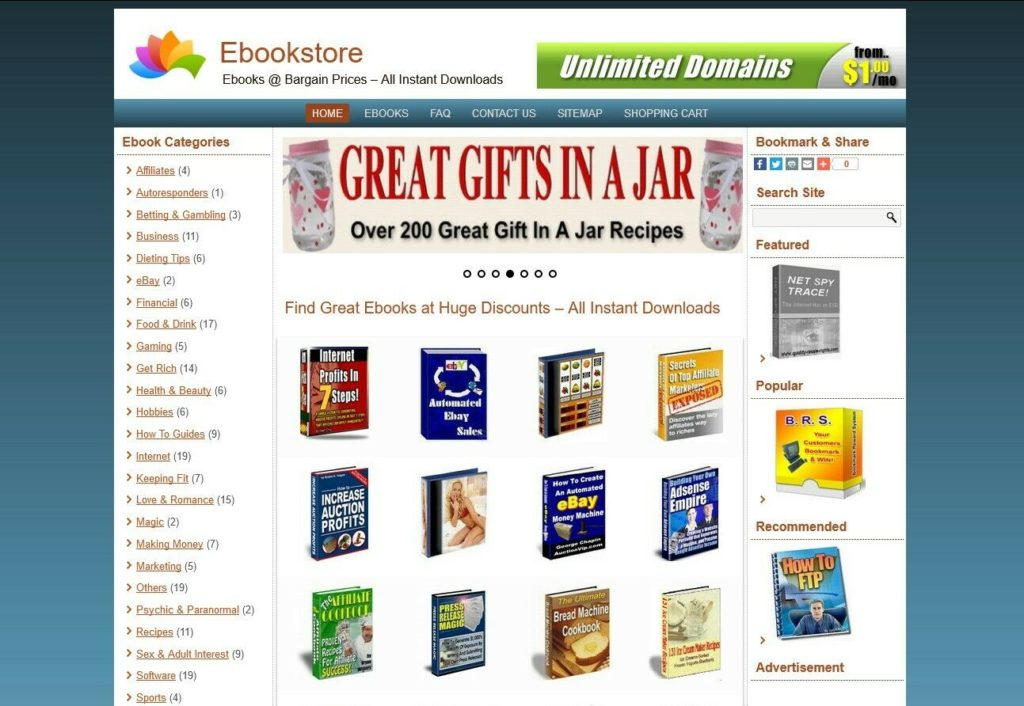 eBook/Download Shop Website For Sale - 150 eBooks Preloaded - Free Install