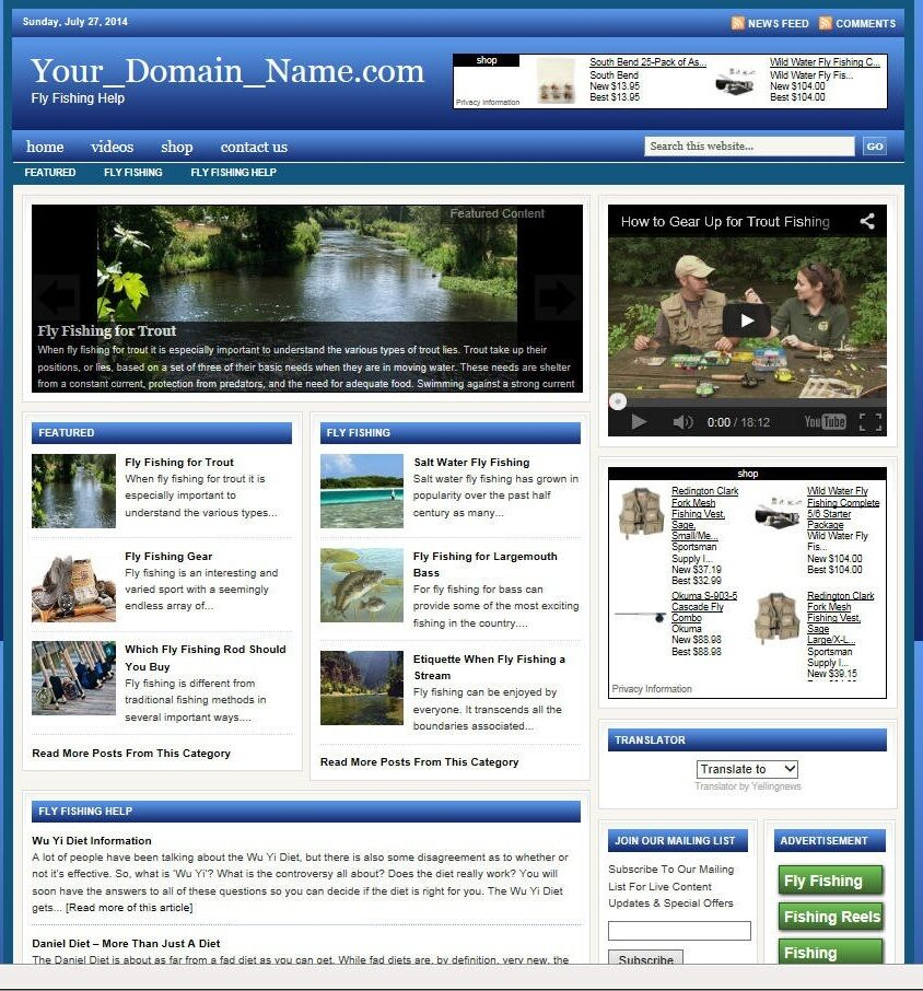 niche FLY FISHING HELP WEBSITE BUSINESS FOR SALE! with TARGETED SEO CONTENT