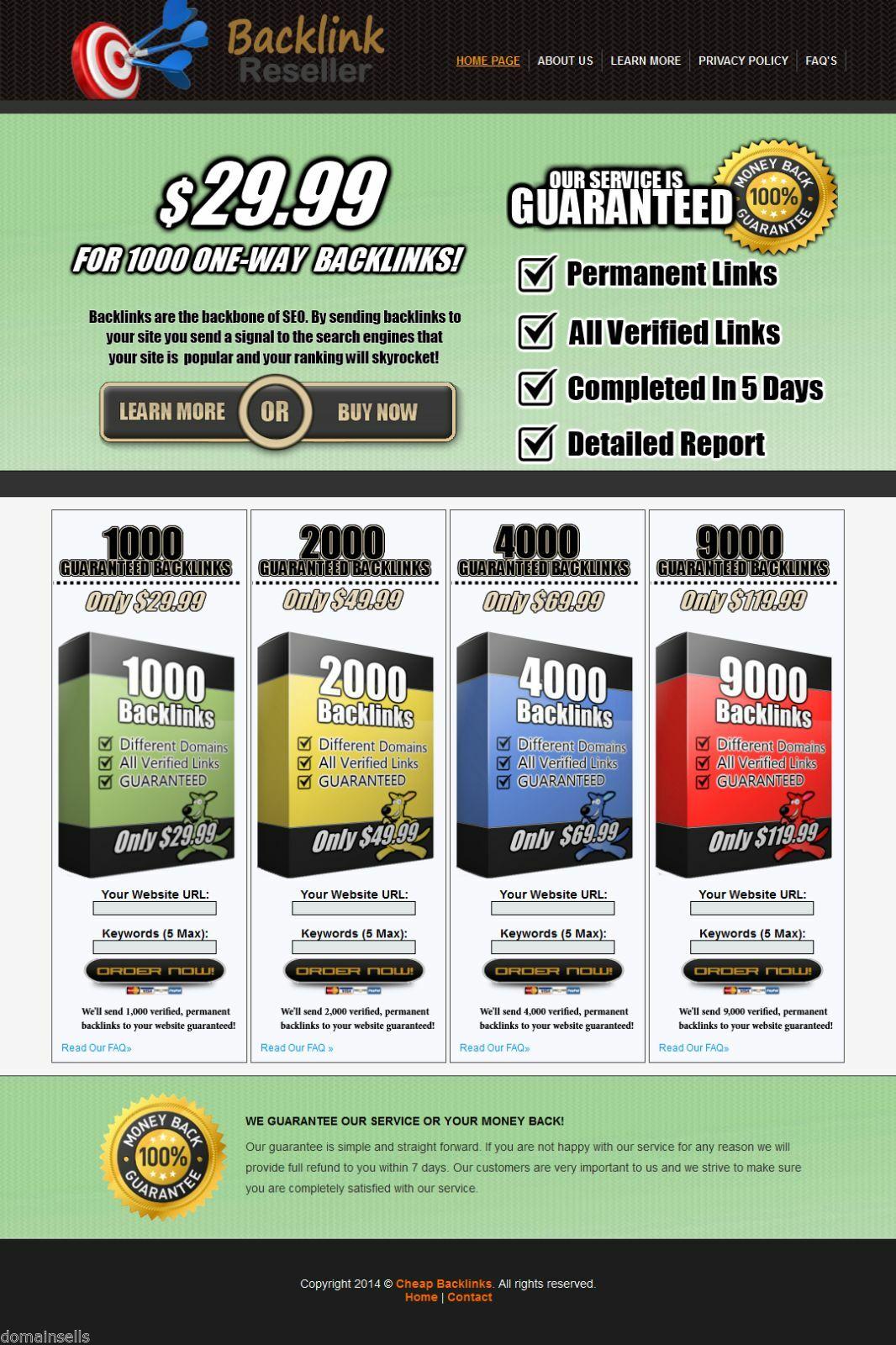 $ Backlink Reseller Website Outsourced Turnkey Online Business Selling Backlinks