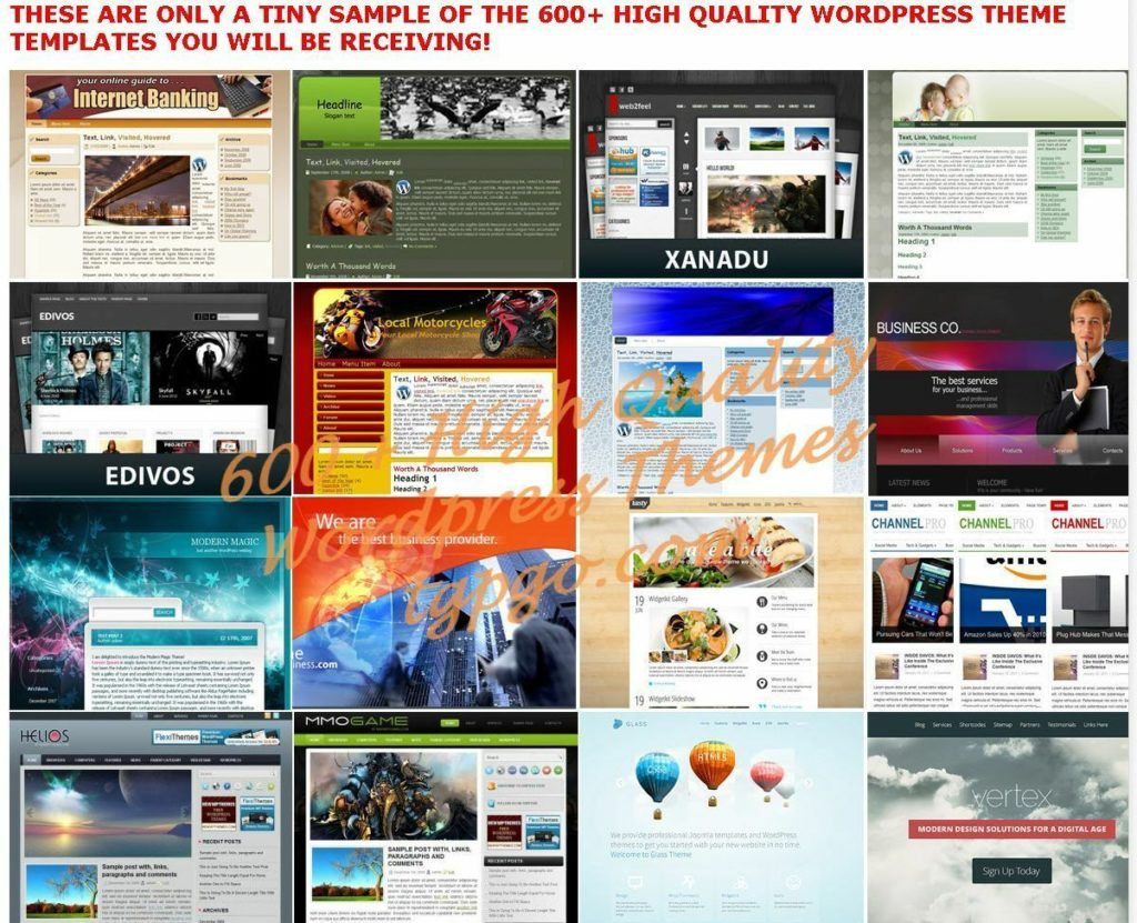 600+ Premium WordPress Themes Templates + 900 Landing Pages - cd