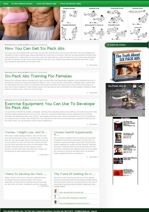 ABS WORKOUT BLOG and SHOP WEBSITE BUSINESS FOR SALE! with TARGETED SEO CONTENT
