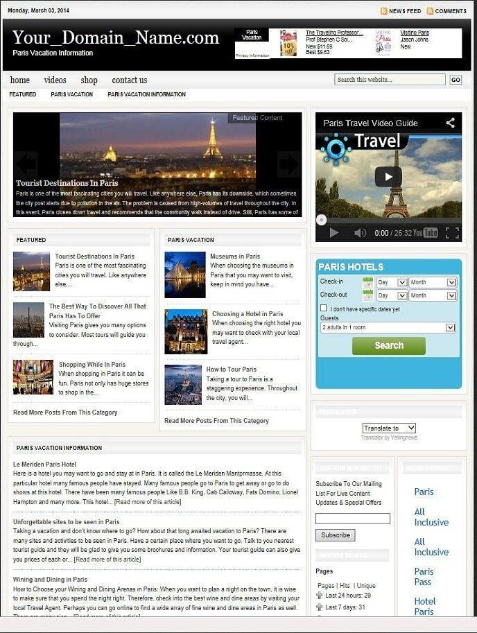 AMAZING PARIS VACATION WEBSITE  FOR SALE!