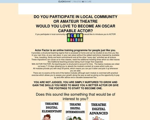 Actor Factor Unique Acting Courses