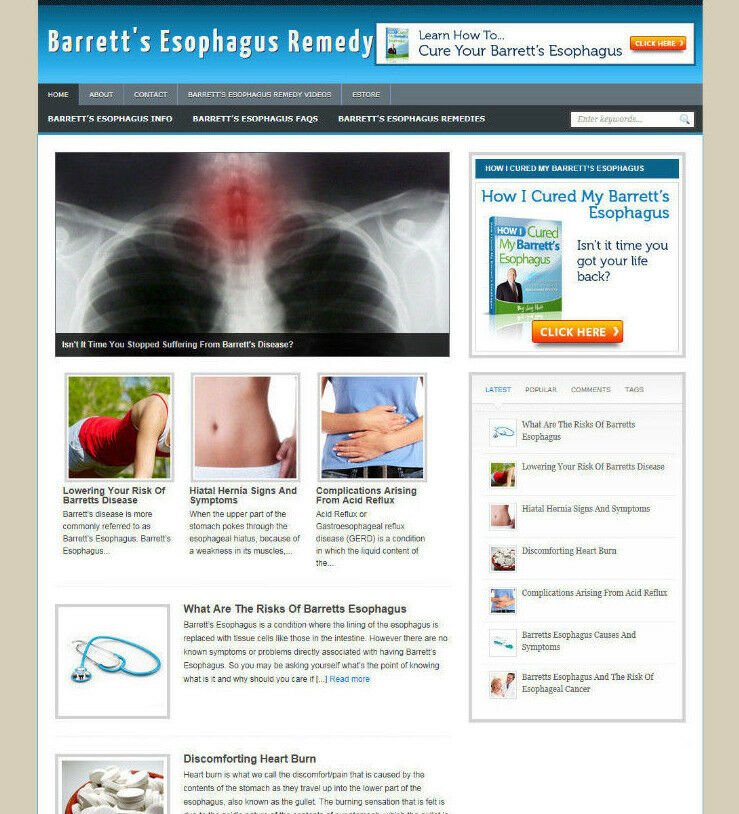BARRETT'S ESOPHAGUS WEBSITE BLOG + AFFILIATE STORE & BANNERS WITH FREE DOMAIN