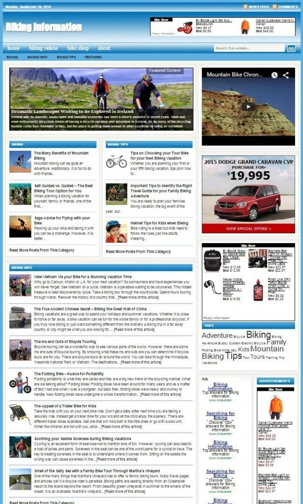 BIKING and CYCLING SHOP WEBSITE BUSINESS FOR SALE! with TARGETED SEO CONTENT