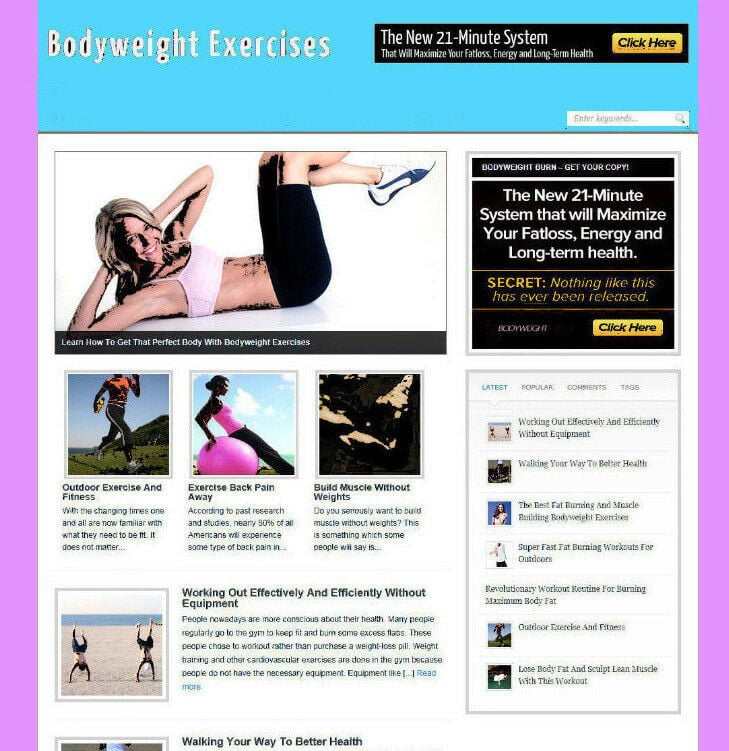 BODYWEIGHT EXERCISES AFFILIATE WEBSITE WITH VIDEO - PRO DESIGN - NEW DOMAIN