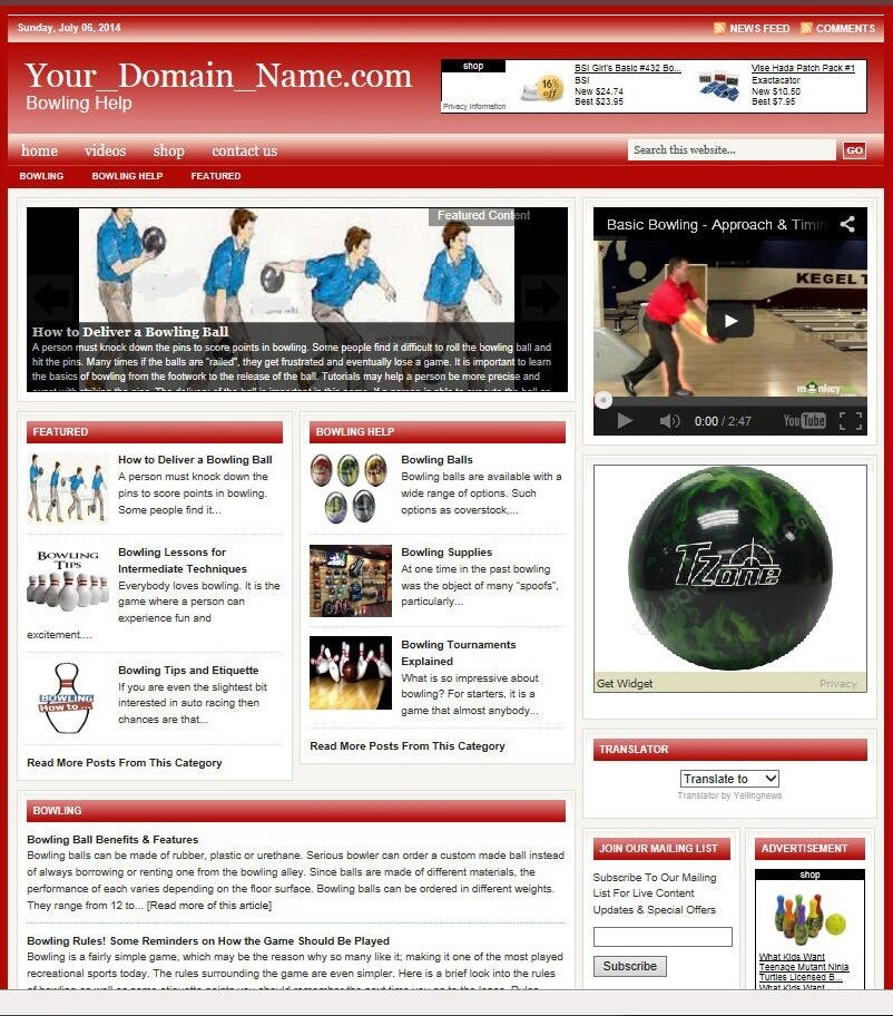 BOWLING BLOG and SHOP WEBSITE BUSINESS FOR SALE! TARGETED CONTENT INCLUDED