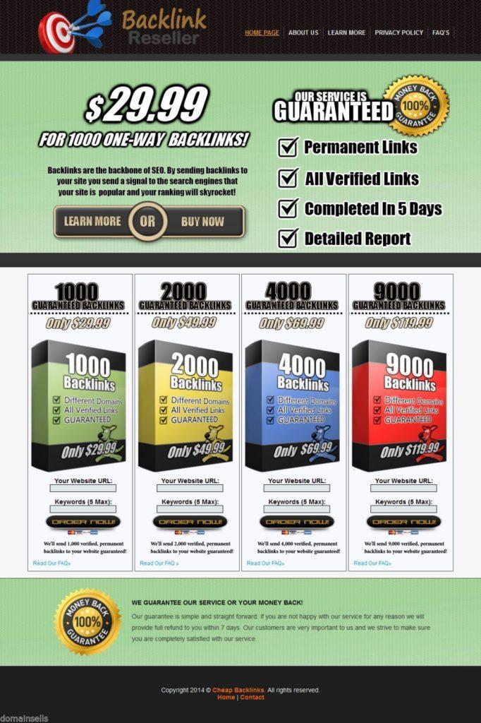 Backlink Reseller Website Outsourced Turnkey Online Business Selling Backlinks