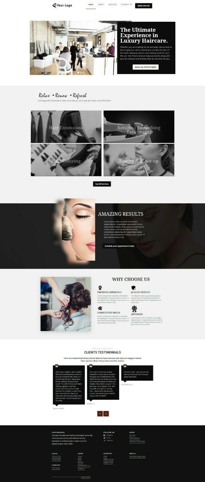 Beauty Salon , Skin Care, Waxing, Massage Professional Website