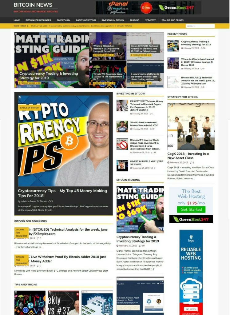 Bit coin News Website - Runs on AutoPilot + Free Install + Hosting