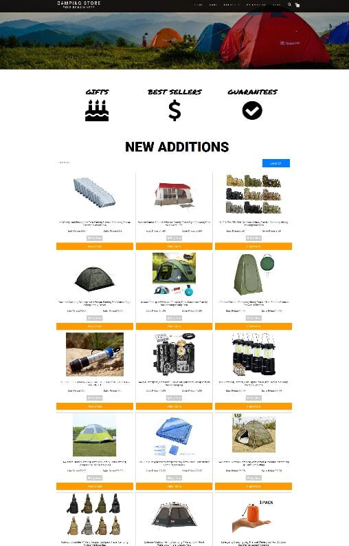 CAMPING WEBSITE WITH NEW DOMAIN + HOSTING - EASY TO RUN