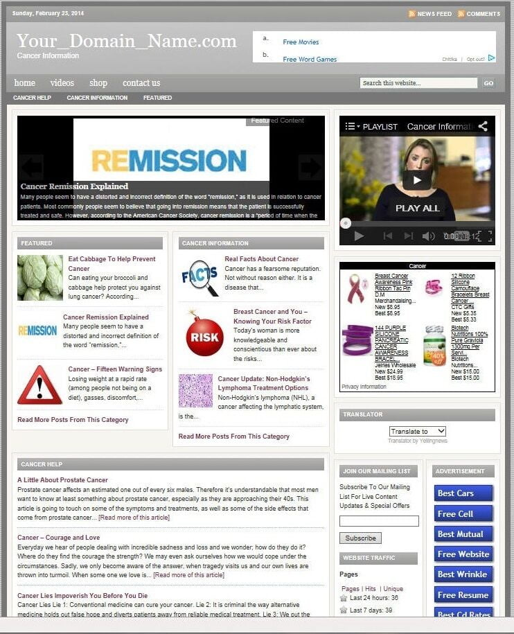 CANCER BLOG WEBSITE BUSINESS FOR SALE! with TARGETED CONTENT