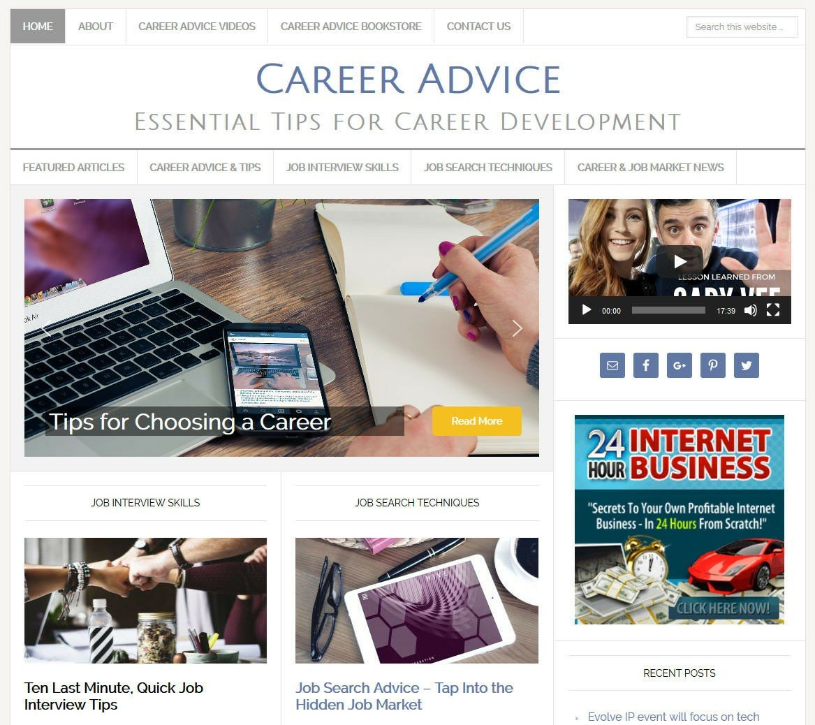 * CAREER & JOB ADVICE * blog website business for sale w/ AUTO CONTENT UPDATES