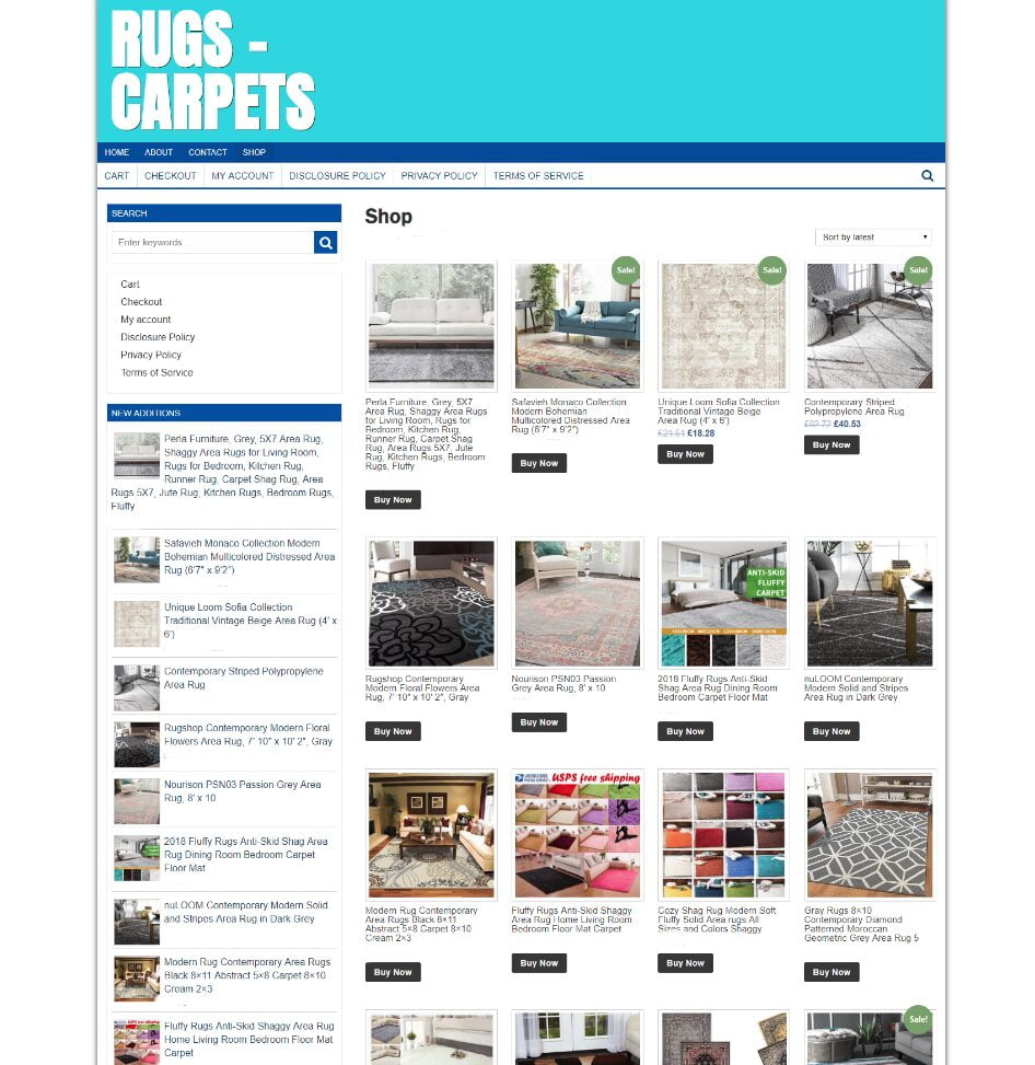 CARPETS & RUGS WEBSITE WITH NEW DOMAIN - FULLY STOCKED - ONE YEARS HOSTING
