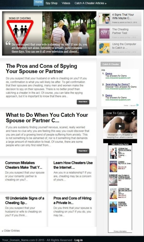 CHEATING SPOUSE WEBSITE BUSINESS FOR SALE! SEO TARGETED CONTENT INCLUDED