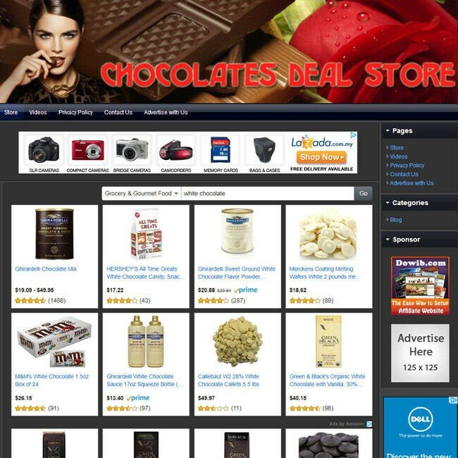 CHOCOLATE STORE - Complete Work at Home Affiliate Website - FREE Domain+Hosting!