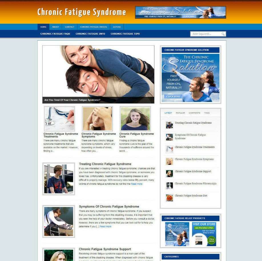 CHRONIC FATIGUE SYNDROME WEBSITE WITH BLOG AND AFFILIATE STORE & BANNERS