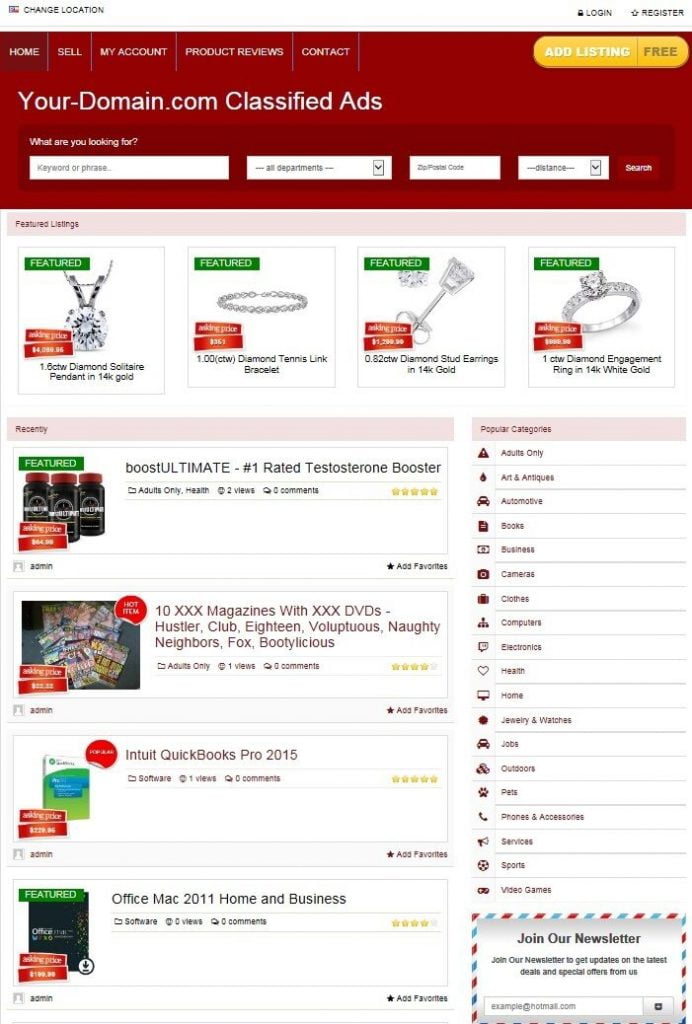 CLASSIFIED ADS SERVICE WEBSITE BUSINESS FOR SALE! COMPLETE WITH LIVE LISTINGS