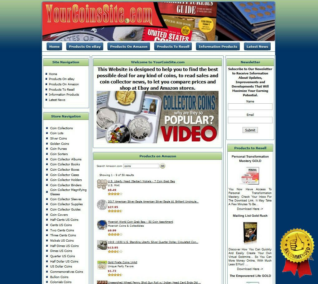 COINS MONEY MAKING STORE Affiliate Website Ebay+Amazon+Google+Dropship