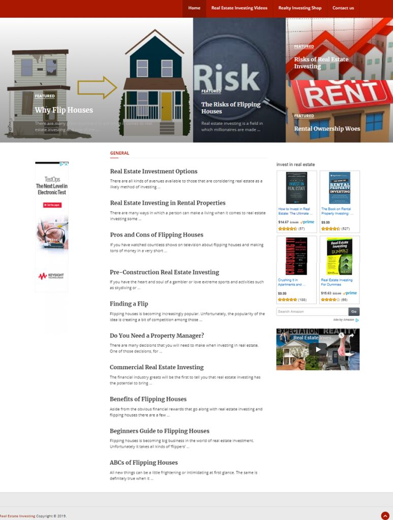 COMPLETE REAL ESTATE INVESTING WEBSITE BUSINESS FOR SALE. INLCUDES SHOP and BLOG
