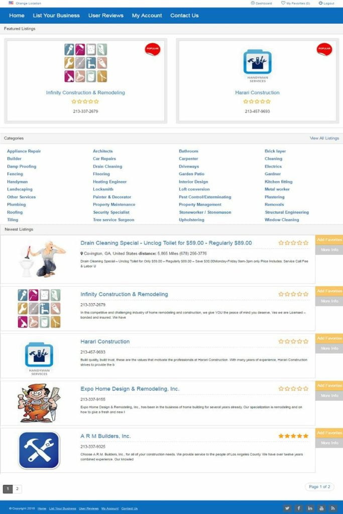 CONTRACTORS and HANDYMAN BUSINESS DIRECTORY WEBSITE FOR SALE! MOBILE FRIENDLY