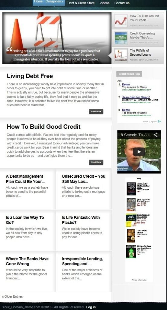 CREDIT REPAIR and REBUILDING BLOG WEBSITE BUSINESS FOR SALE! w/ TARGETED CONTENT