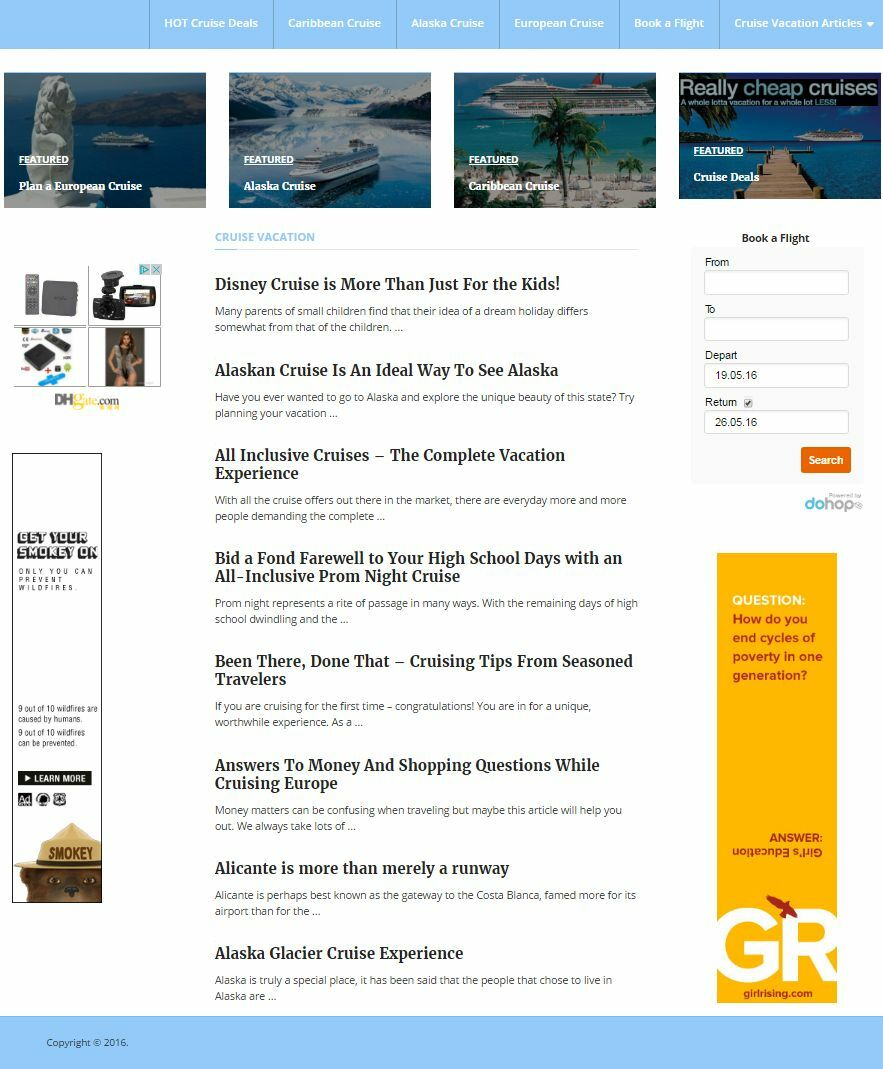 CRUISE VACATION BOOKING WEBSITE BUSINESS FOR SALE! MOBILE OPTIMIZED WEBSITE