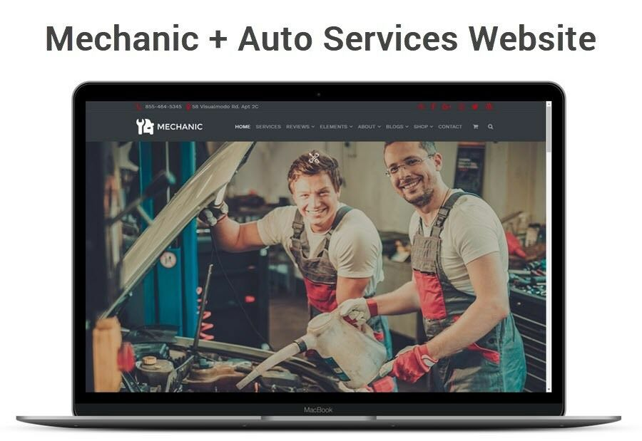 Car Mechanic Website for Auto Repair Business, Small Engine Service, Tires