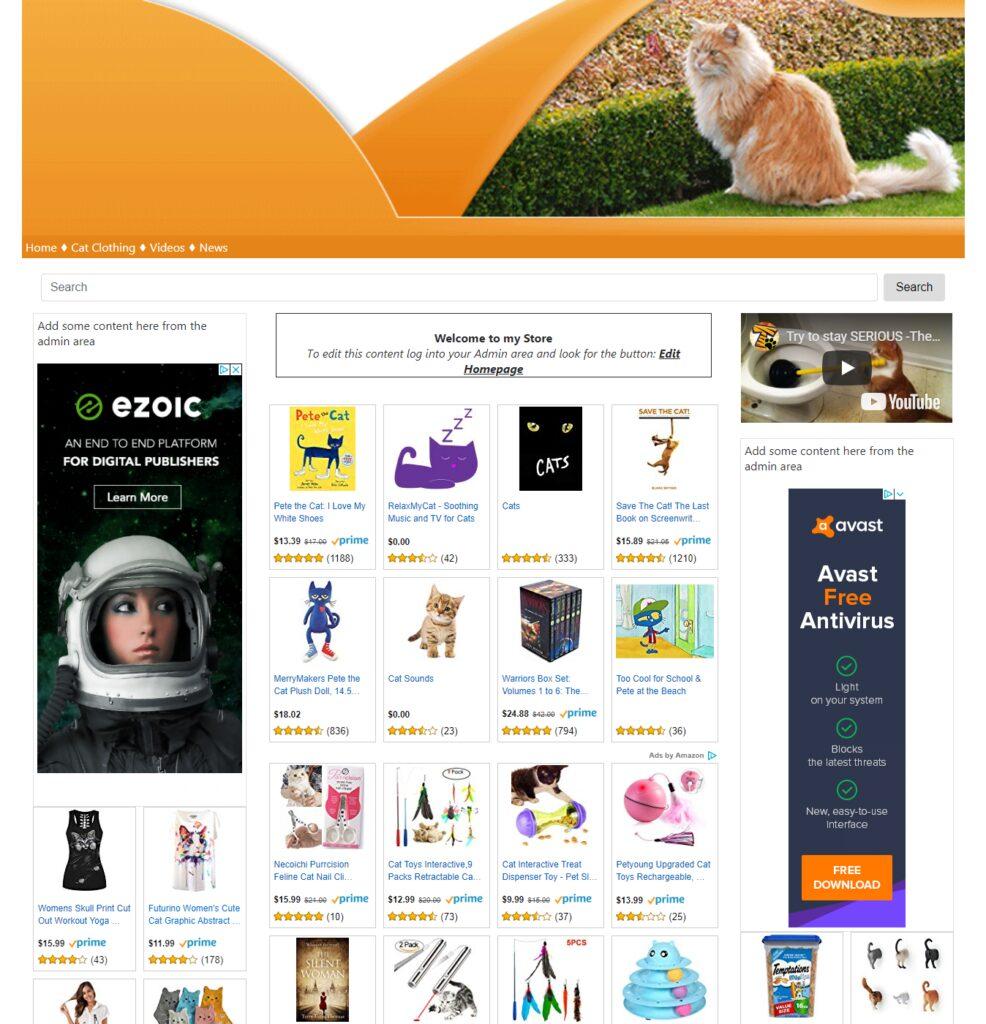 Cat Supplies Ready Made Website Affiliate Store Make Cash on Autopilot