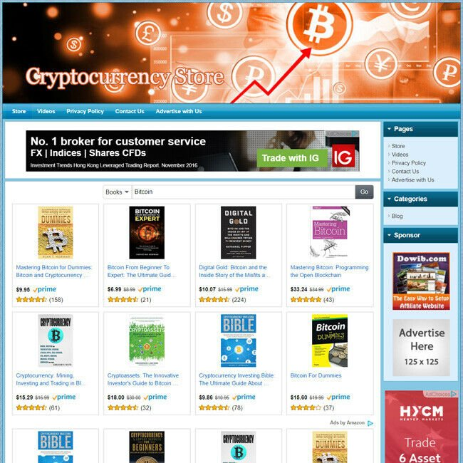 Cryptocurrency Bitcoin Store, Online Affiliate Business Website, Free Domain!