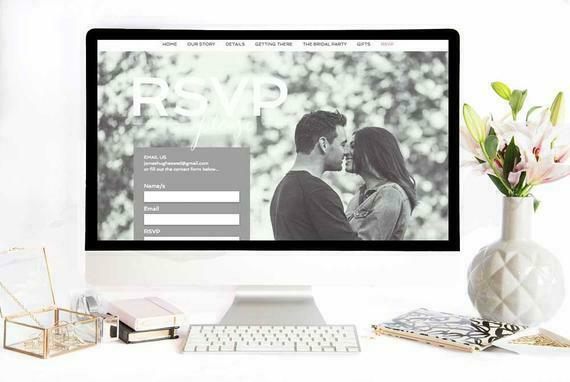 Custom Website Wedding RSVP Information Invitation, Minimal, Self Customize