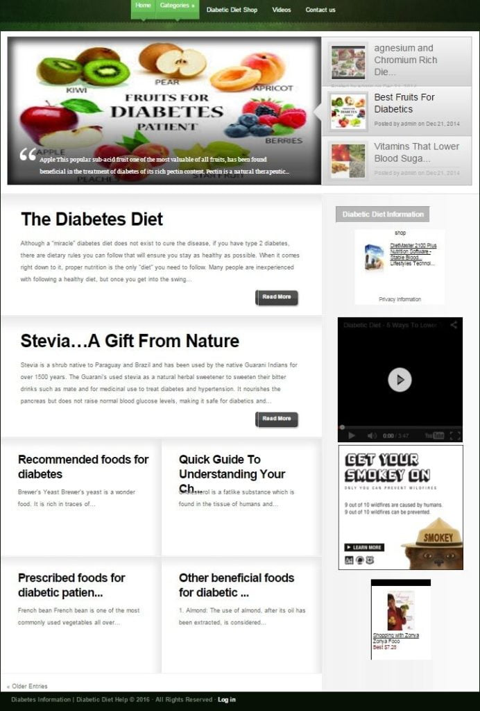 DIABETIC DIET WEBSITE BUSINESS FOR SALE! SEARCH ENGINE FRIENDLY CONTENT INCLUDED