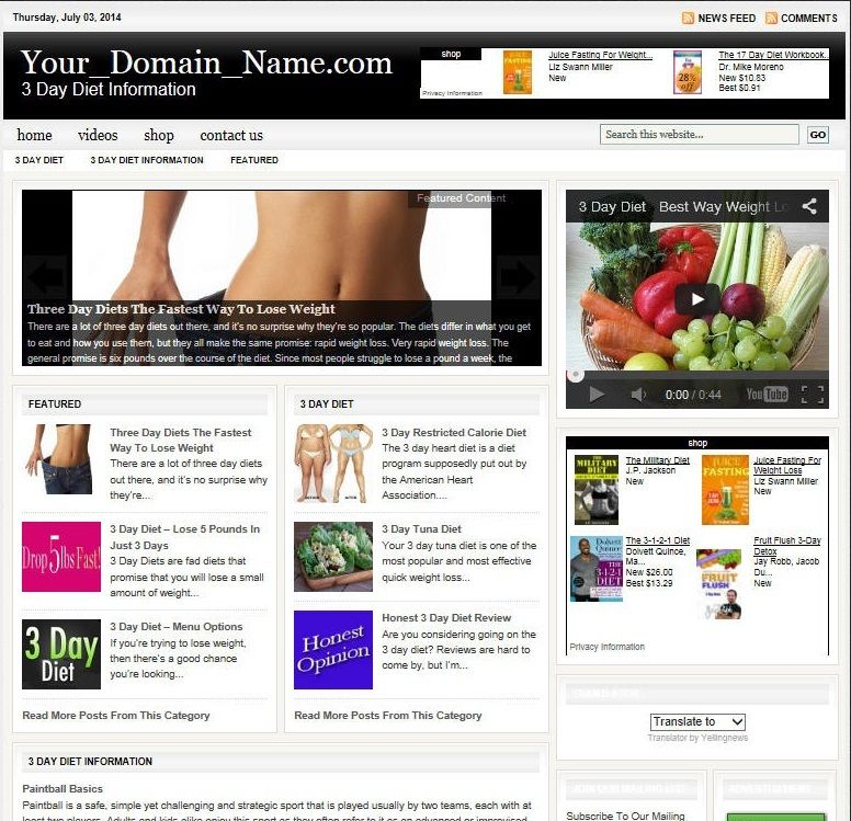 DIET PLANS WEBSITE BUSINESS FOR SALE! TARGETED SEO CONTENT INCLUDED