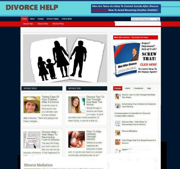 DIVORCE HELP STORE / WEBSITE WITH AFFILIATES & FREE DOMAIN - PROFESSIONAL DESIGN