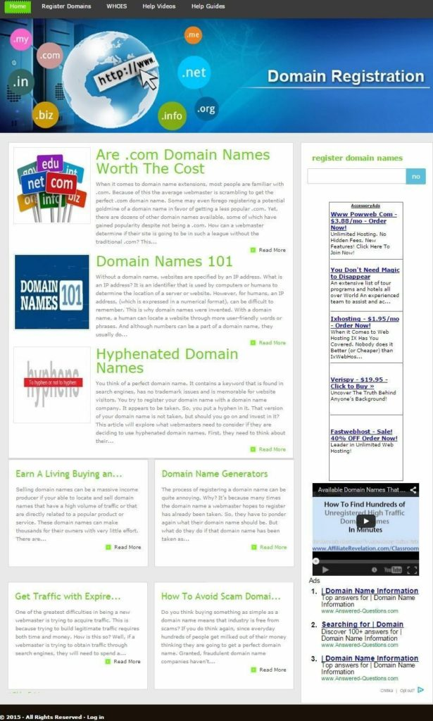 DOMAIN NAMES BLOG and REGISTRATION WEBSITE BUSINESS FOR SALE!