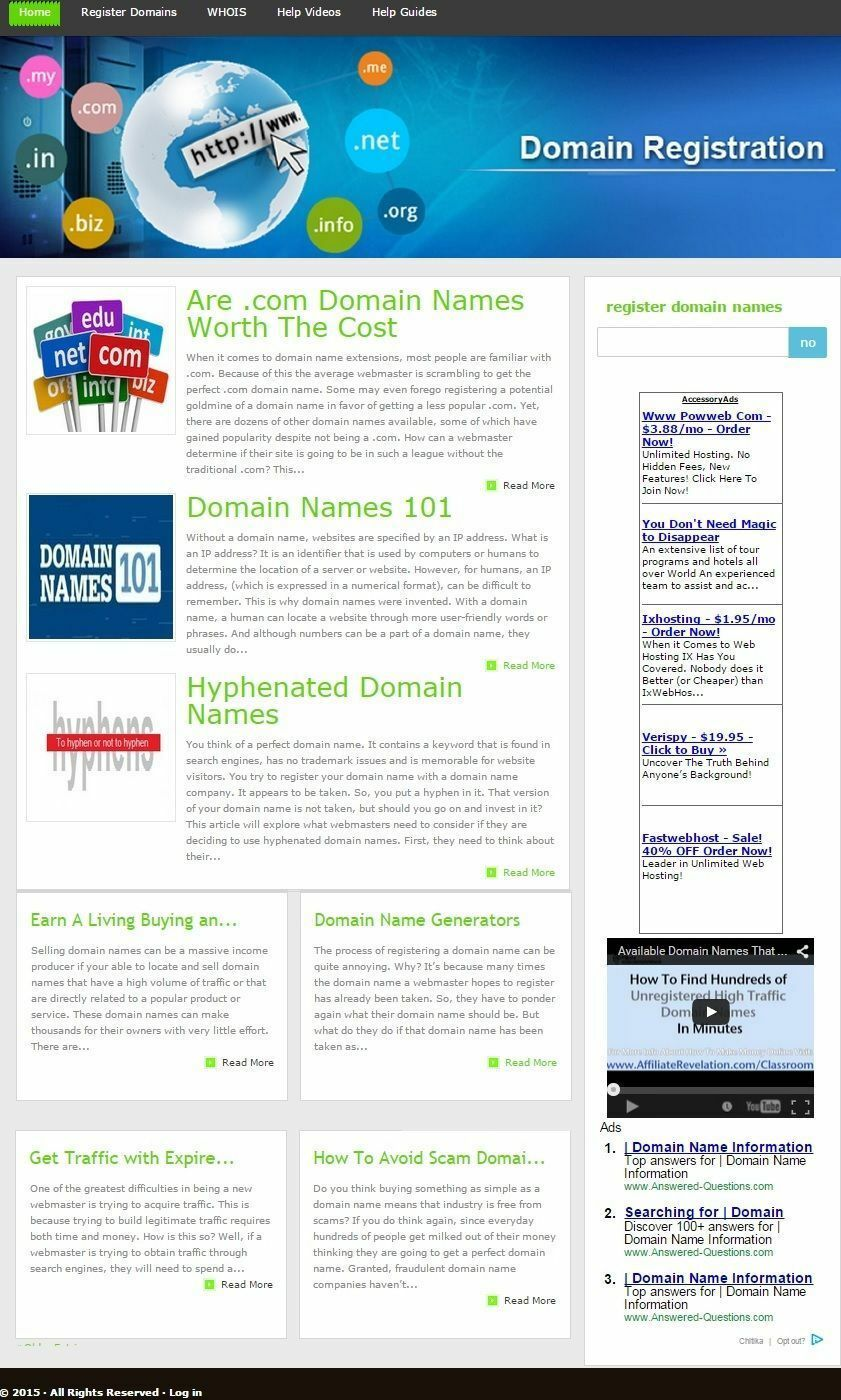 DOMAIN NAMES BLOG and REGISTRATION WEBSITE BUSINESS FOR SALE!