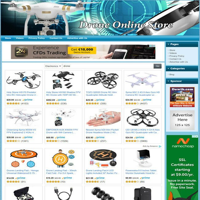 Drones Electronic STORE - Turnkey Online Website, Amazon + Google Affiliate Biz!