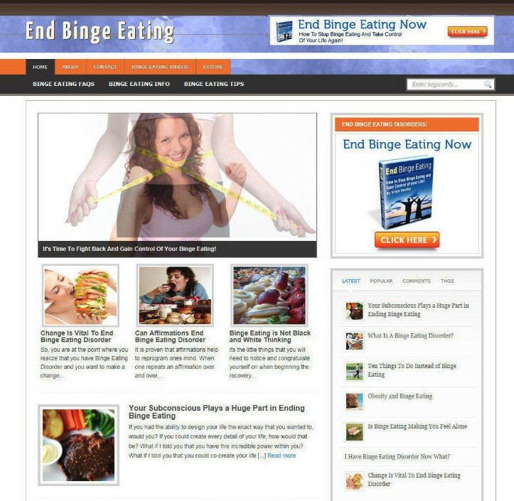 END BINGE EATING ADVICE STORE AND AFFILIATE WEBSITE - FREE DOMAIN - PRO THEME