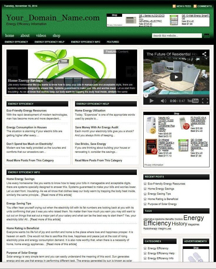 ENERGY EFFICIENCY SHOP WEBSITE BUSINESS FOR SALE! TARGETED CONTENT INCLUDED