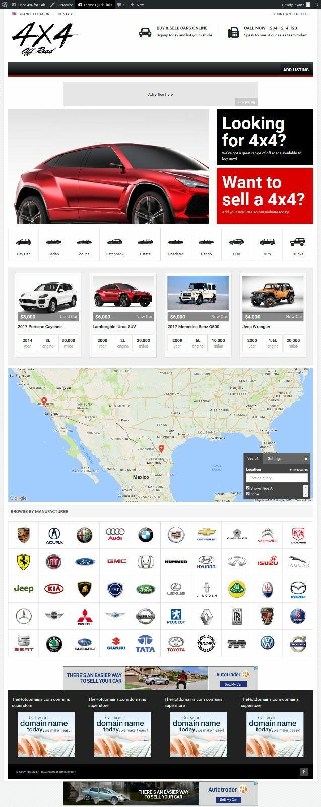 ESTABLISHED Turnkey WEBSITE BUSINESS cars sale .com + Bonus used4x4forsale.com