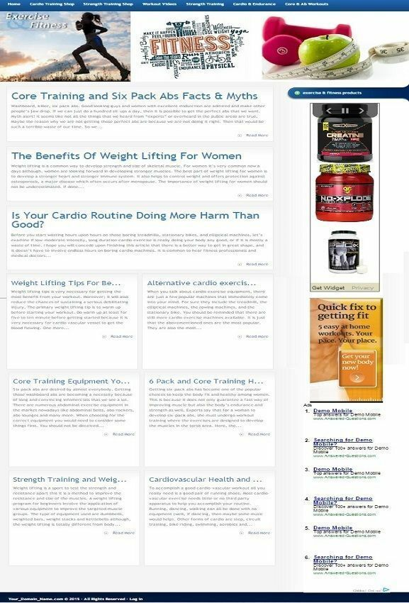 EXERCISE and FITNESS WEBSITE BUSINESS FOR SALE! MOBILE VERSION INCLUDED