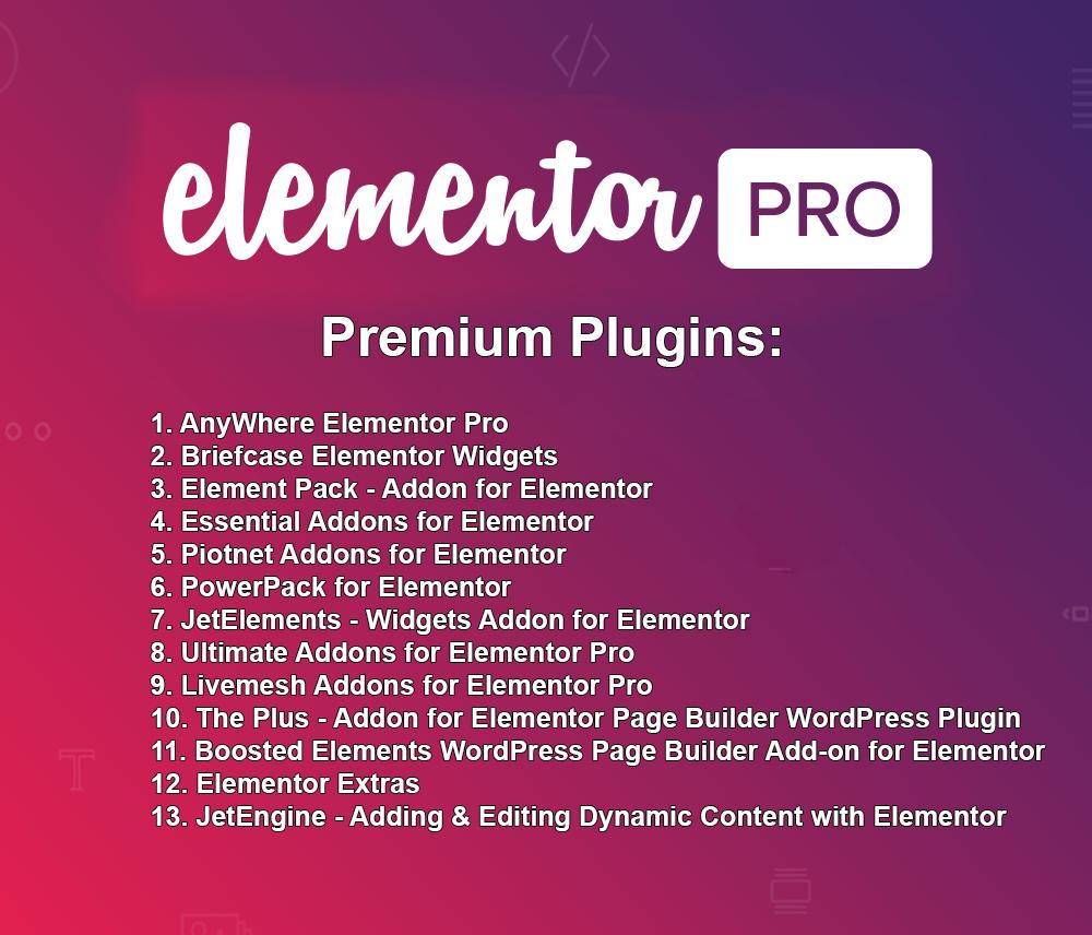 Elementor PRO + 13 Premium Plugins + Templates - WordPress Plugin - Updated