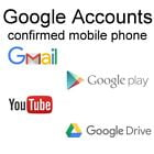 Email Accounts confirmed by phone number by SMS for Gmail, Google Play, YouTube