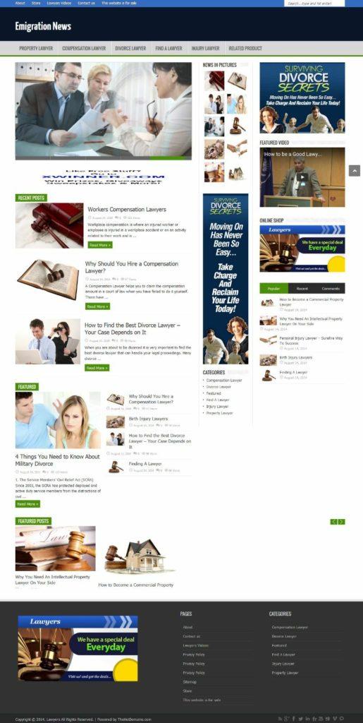 Emigration News,Legal, Lawyer Website/Blog + PR 5 Domain  emigrationnews.com