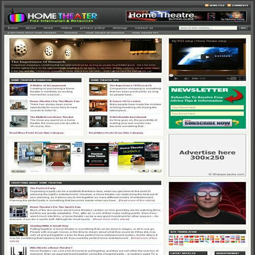 Established 'HOME THEATER' Affiliate Website Turnkey Business (FREE HOSTING)
